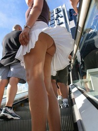 Public Up Skirt Photos windy escalator upskirt