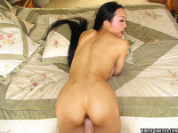 Ange Venus Hardcore pics bosomy asian milf ange venus gets shaved cunt drilled hardcore