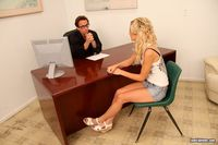 Misti Love Hardcore large gaa shaved blonde schoolgirl misti love wearing jeans shorts office